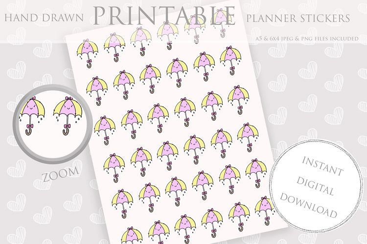 photograph about Printable Weather referred to as Printable Planner Stickers Umberella Climate Pastel Sticker
