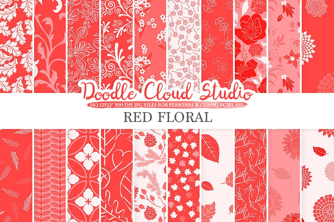 Red Floral digital paper, Scarlet Floral pattern Flowers Dhalia Leaves Damask Calico background, Instant Download, Personal & Commercial Use example image 1