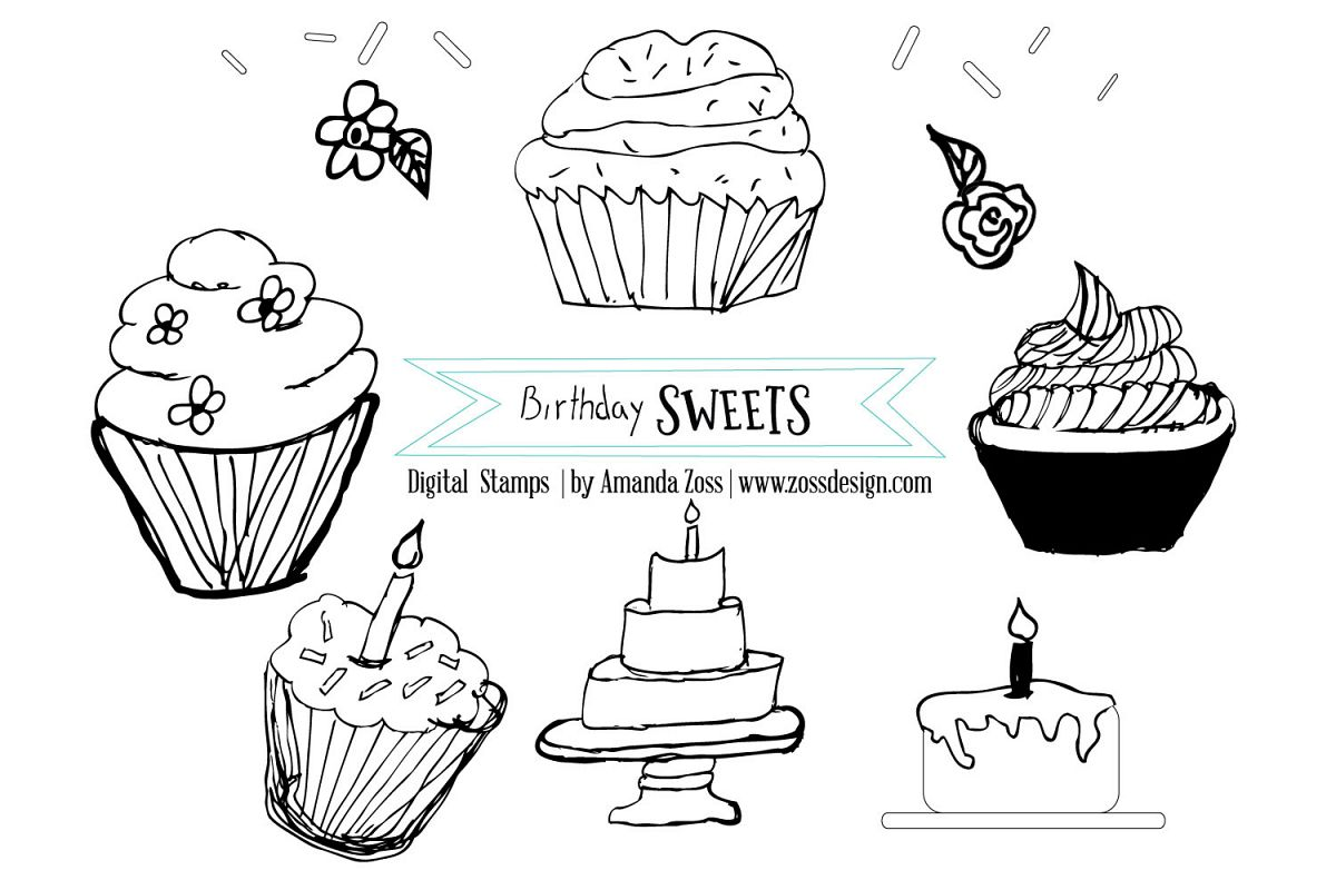 Birthday Sweets Digi stamps and Clipart example image 1