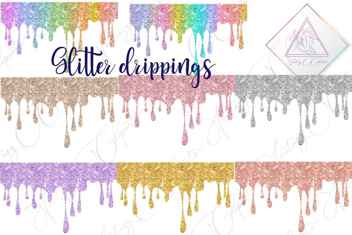Glitter Drippings Clipart example image 1
