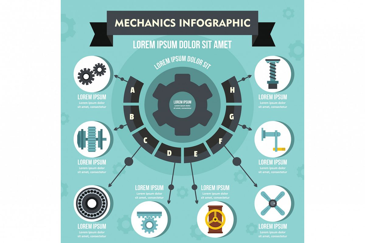 Mechanics infographic concept, flat style example image 1