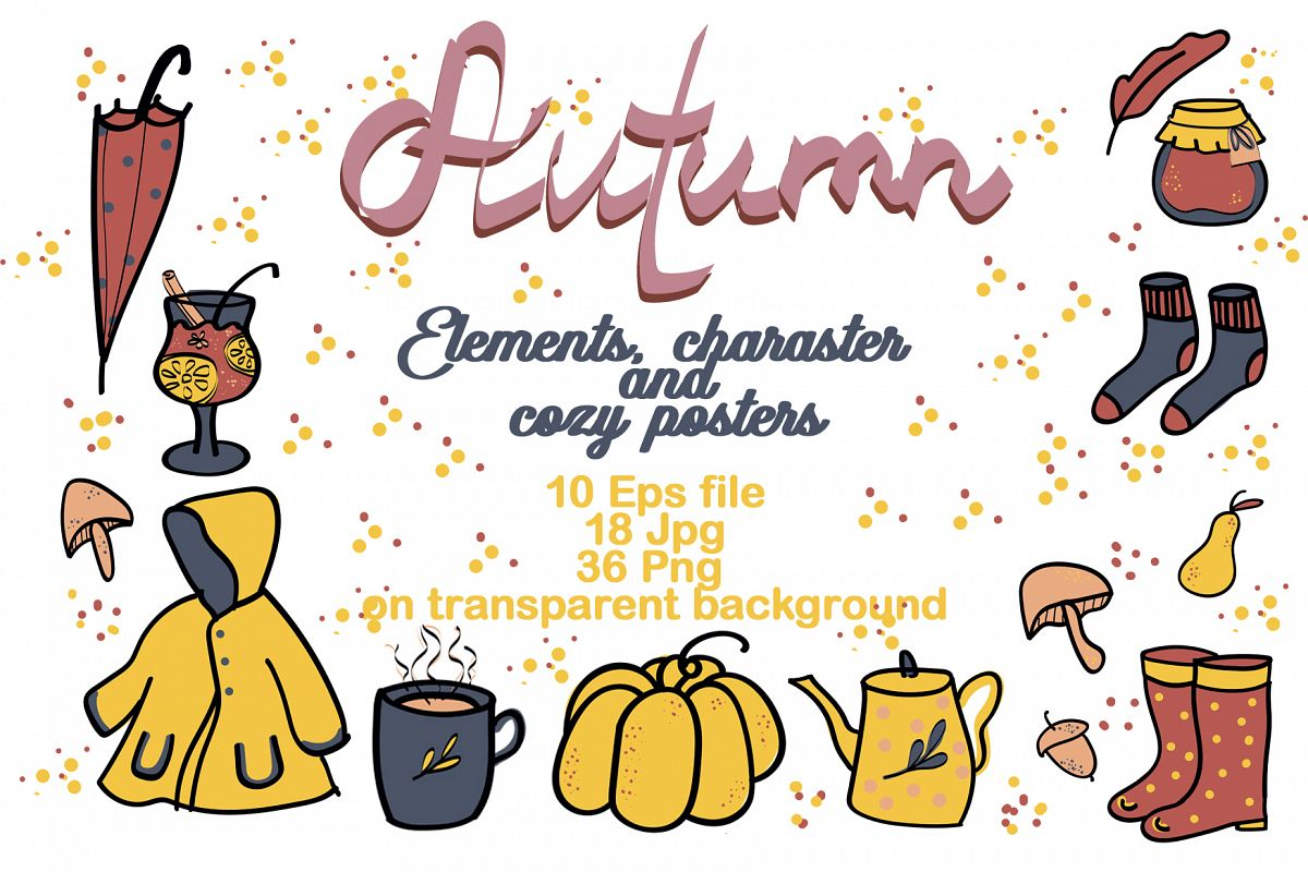 Autumn cozy elements, charaster and poster example image 1