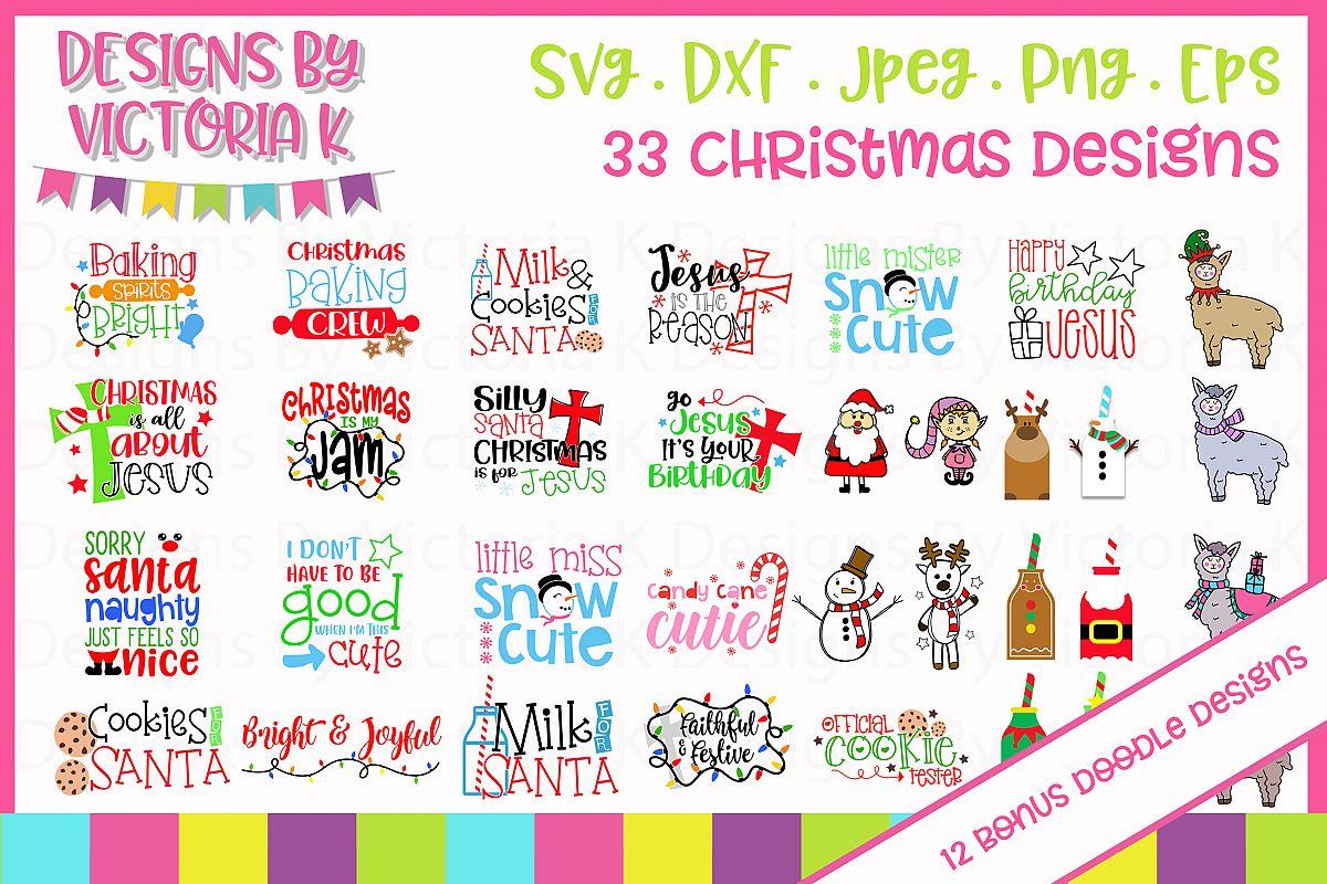 33 Christmas designs, 12 bonus doodle designs, SVG, DXF example image 1
