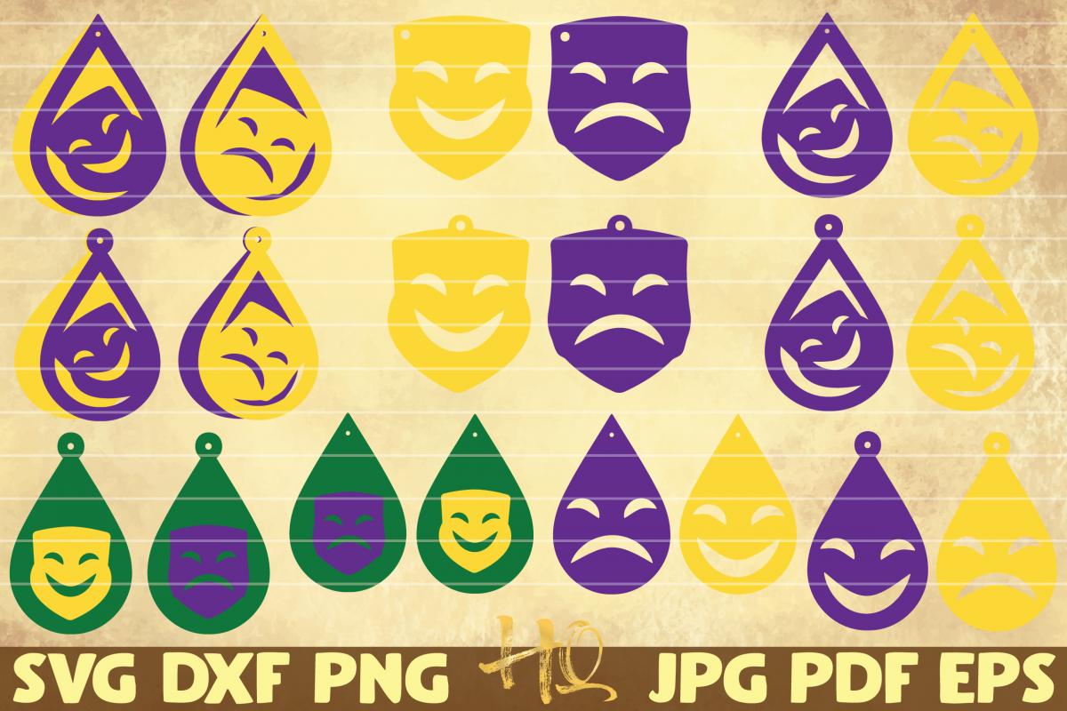 20 Theater mask earrings | Mardi Gras teardrop earrings example image 1