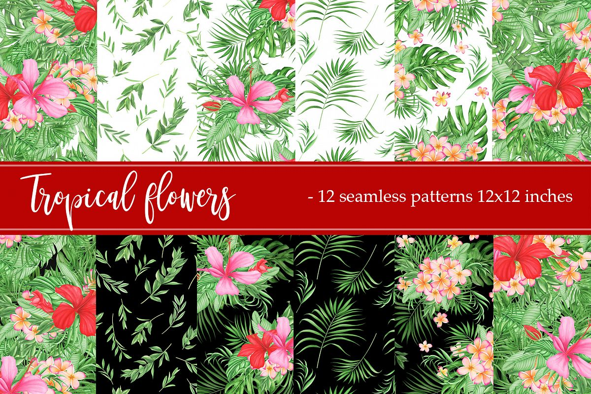 Tropical leaves and flowers patterns example image 1