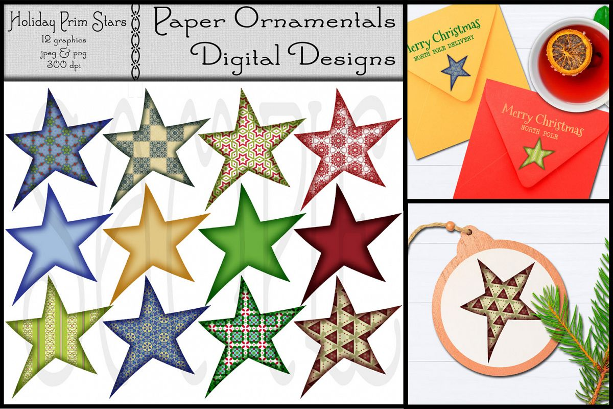 Christmas Clip Art, Holiday Primitive Stars example image 1