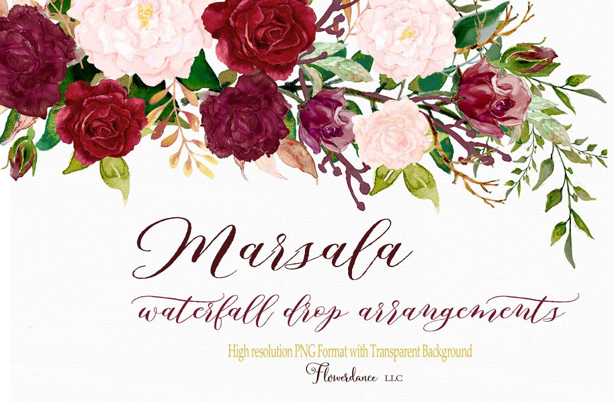 Watercolor Clipart Marsala And Blush Floral Drop Arrangement