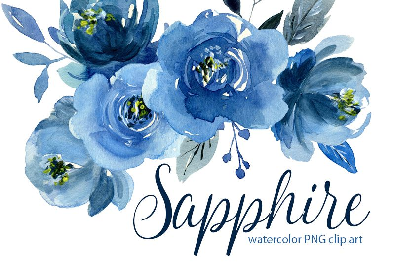 Watercolor indigo blue flowers roses, bouquets and a wreath example image 1