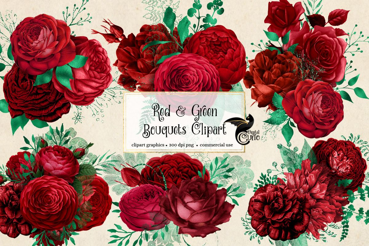 Red and Green Bouquets Clipart example image 1