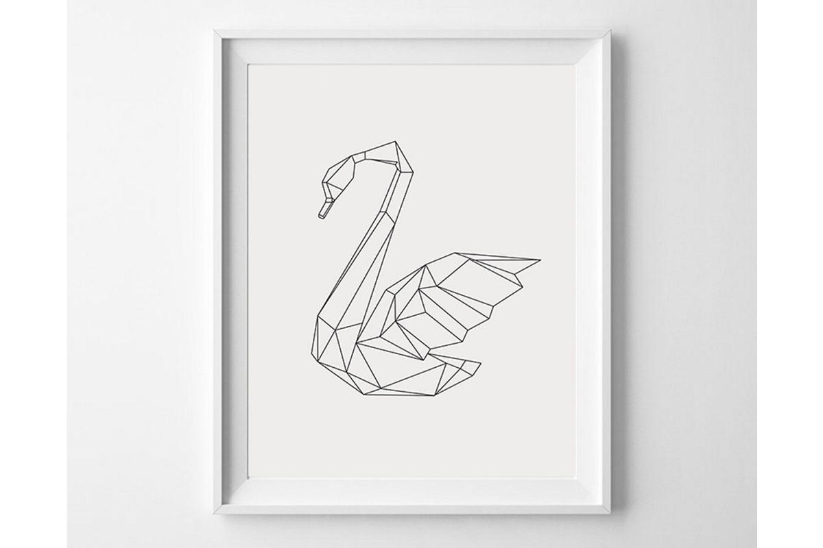 Geometric Swan Print, Scandinavian Minimalist Wall Decor example image 1