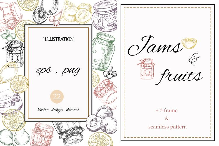 Jams & fruits in vector example image 1