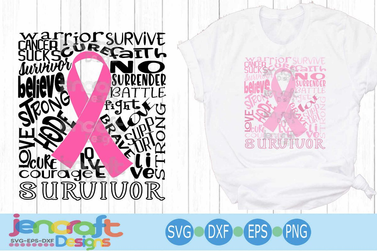 Breast Cancer Awareness Typography October, fight, pink SVG example image 1