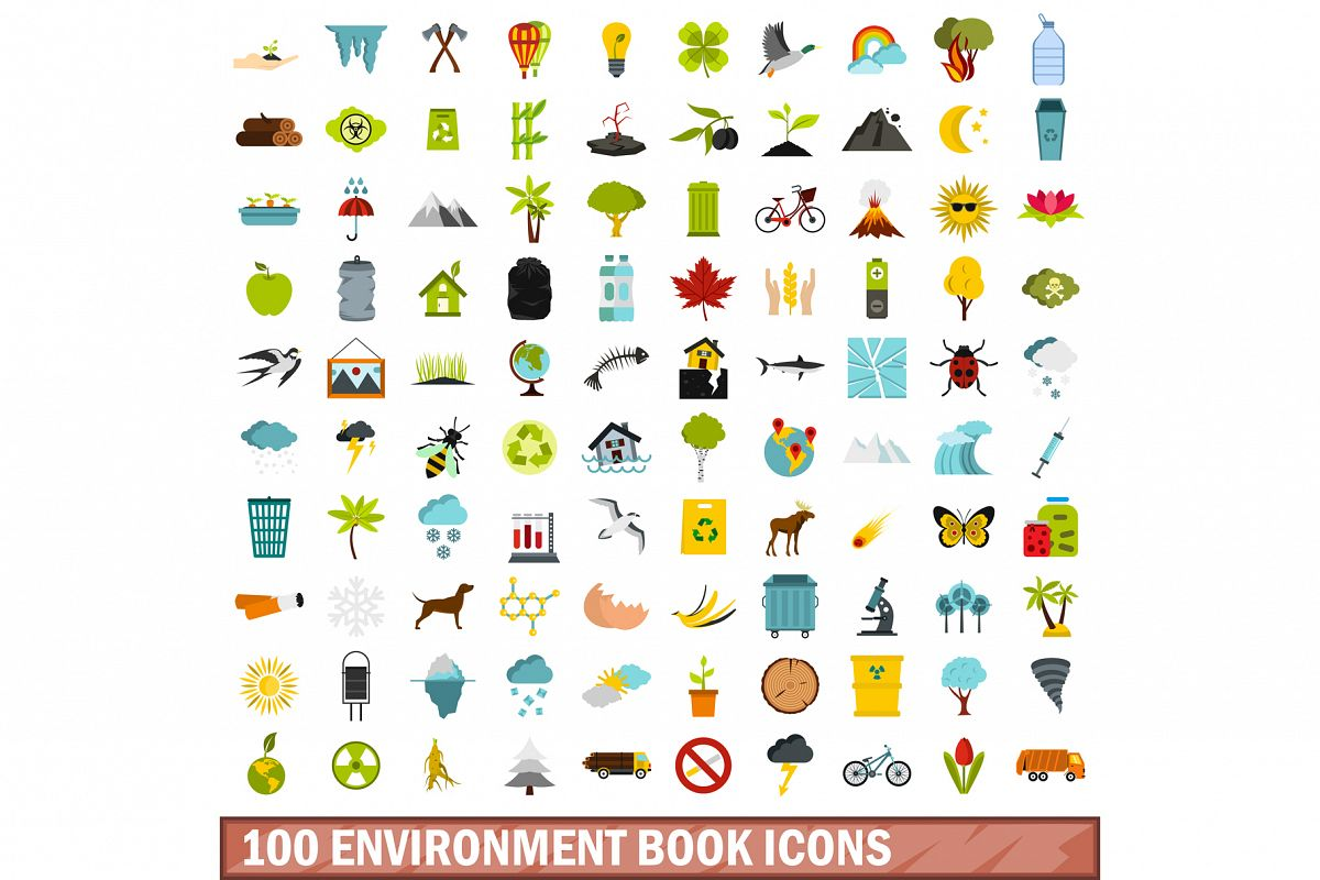 100 environment book icons set, flat style example image 1