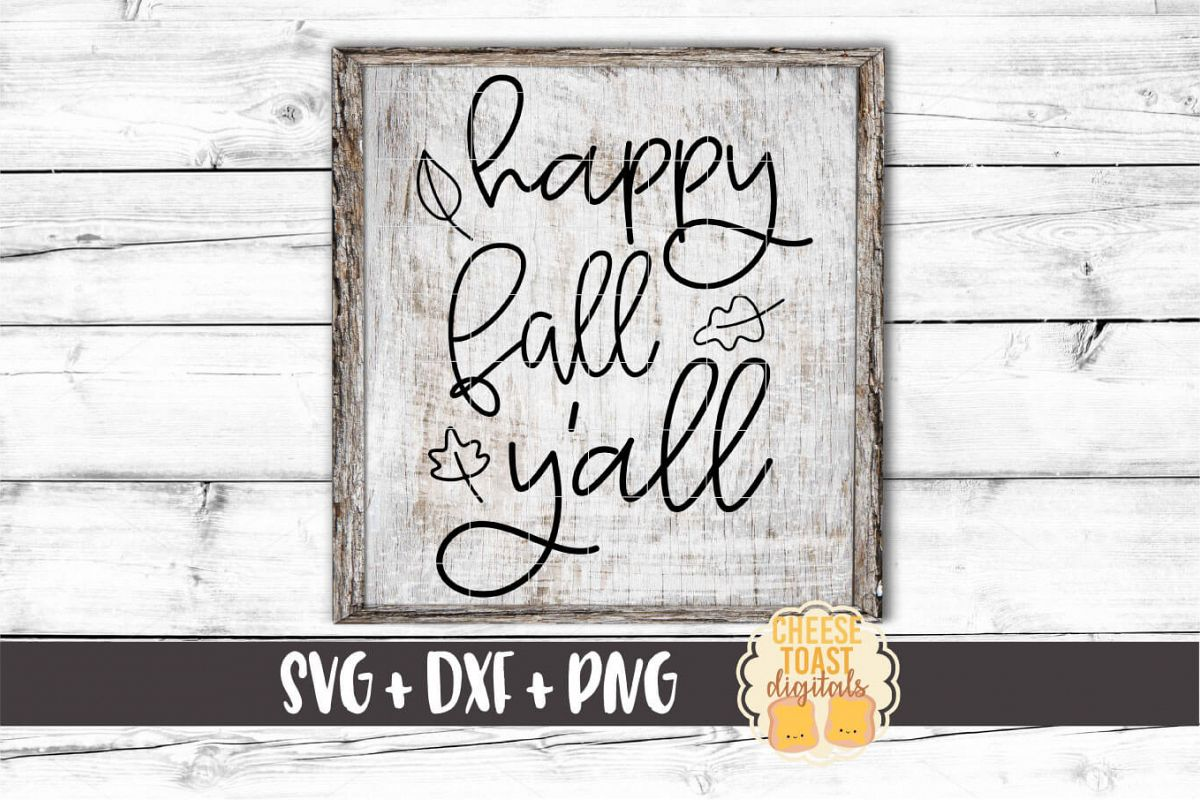 Happy Fall Y'all - Fall Sign SVG PNG DXF Cut Files example image 1