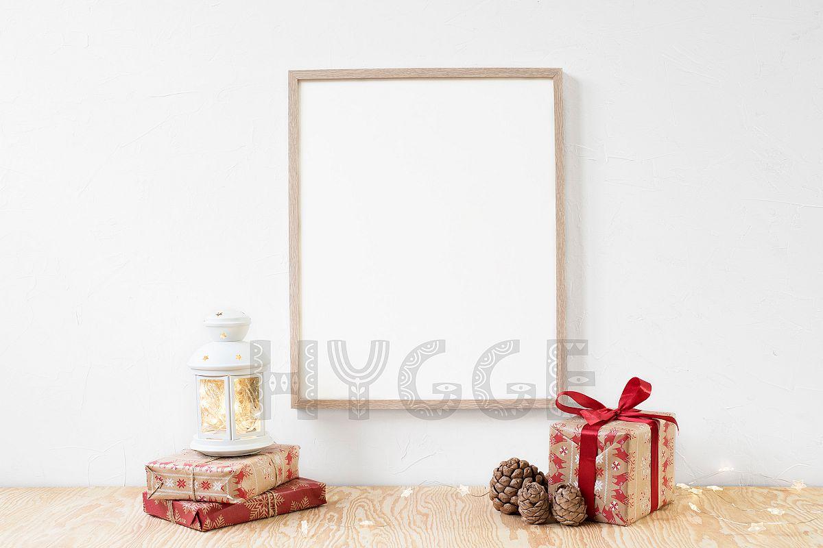 Christmas Frame Mockup, Simple Poster Mockup, Digital Print example image 1