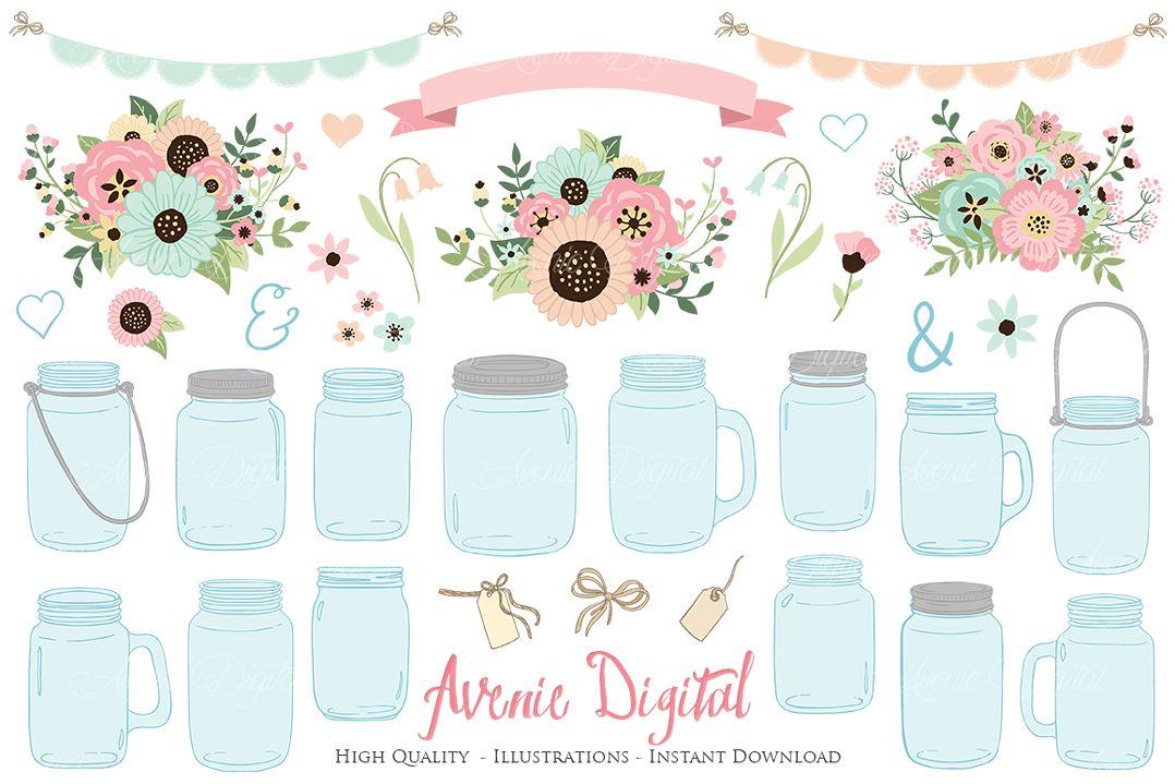 Pink and Mint Mason Jar Wedding Clipart example image 1