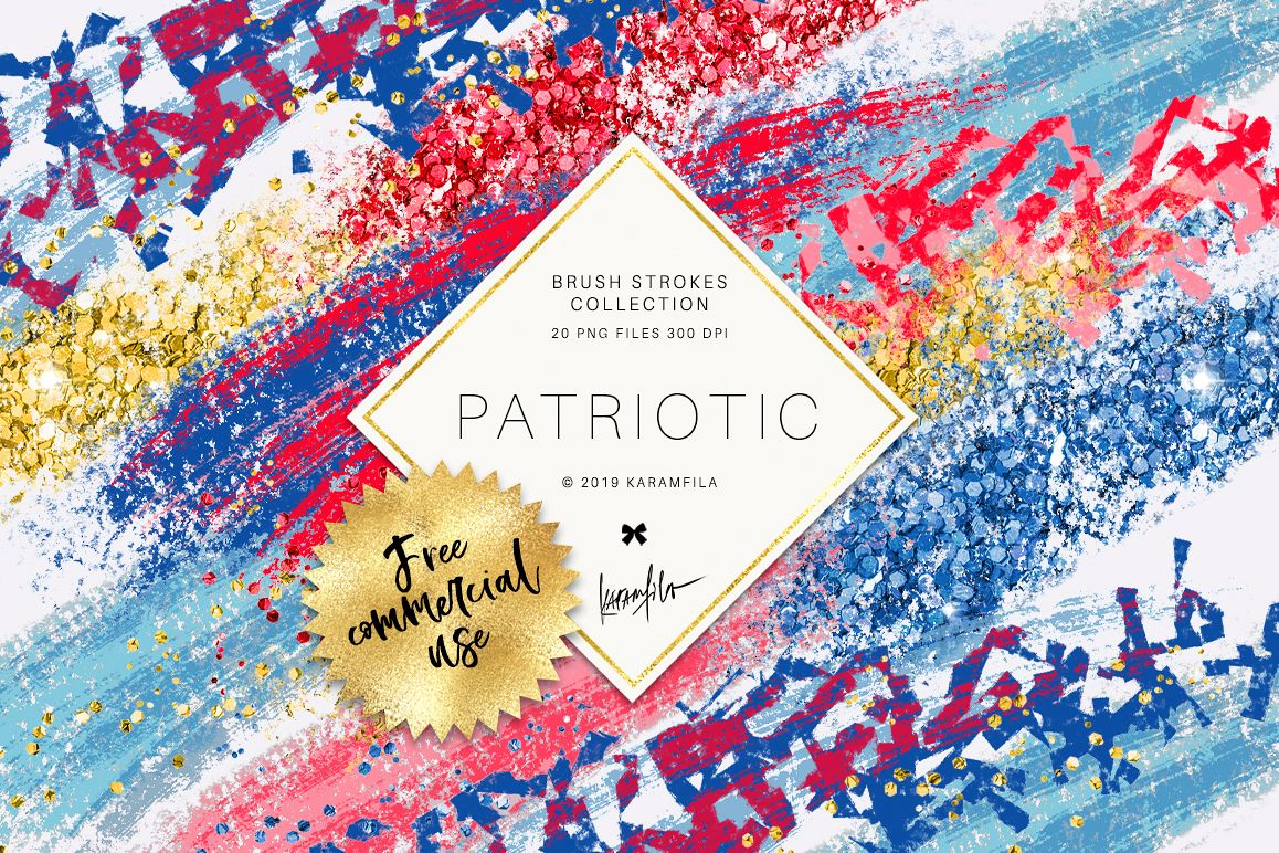 4th of July Brush Stroke Clipart example image 1