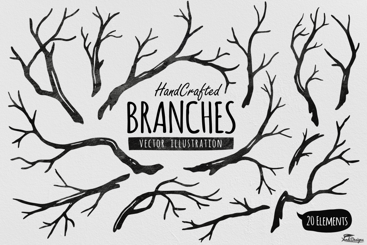 hand crafted tree branches vector by ya design bundles rh designbundles net vector tree branches silhouettes vector christmas tree branch