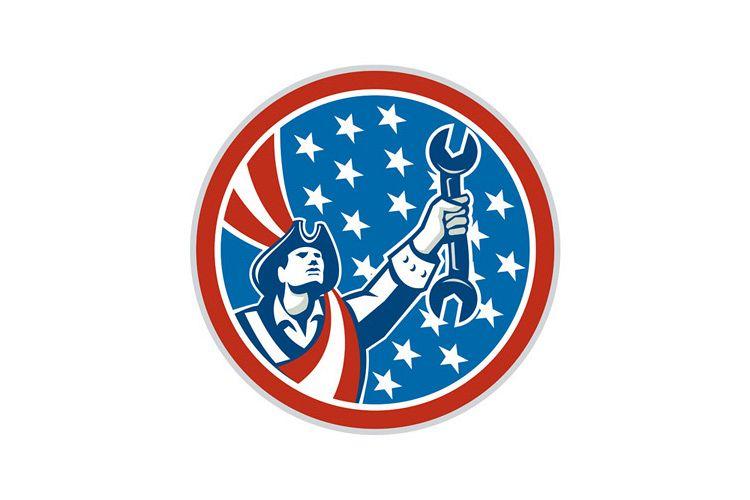 American Patriot Mechanic Holding Spanner Circle Retro example image 1