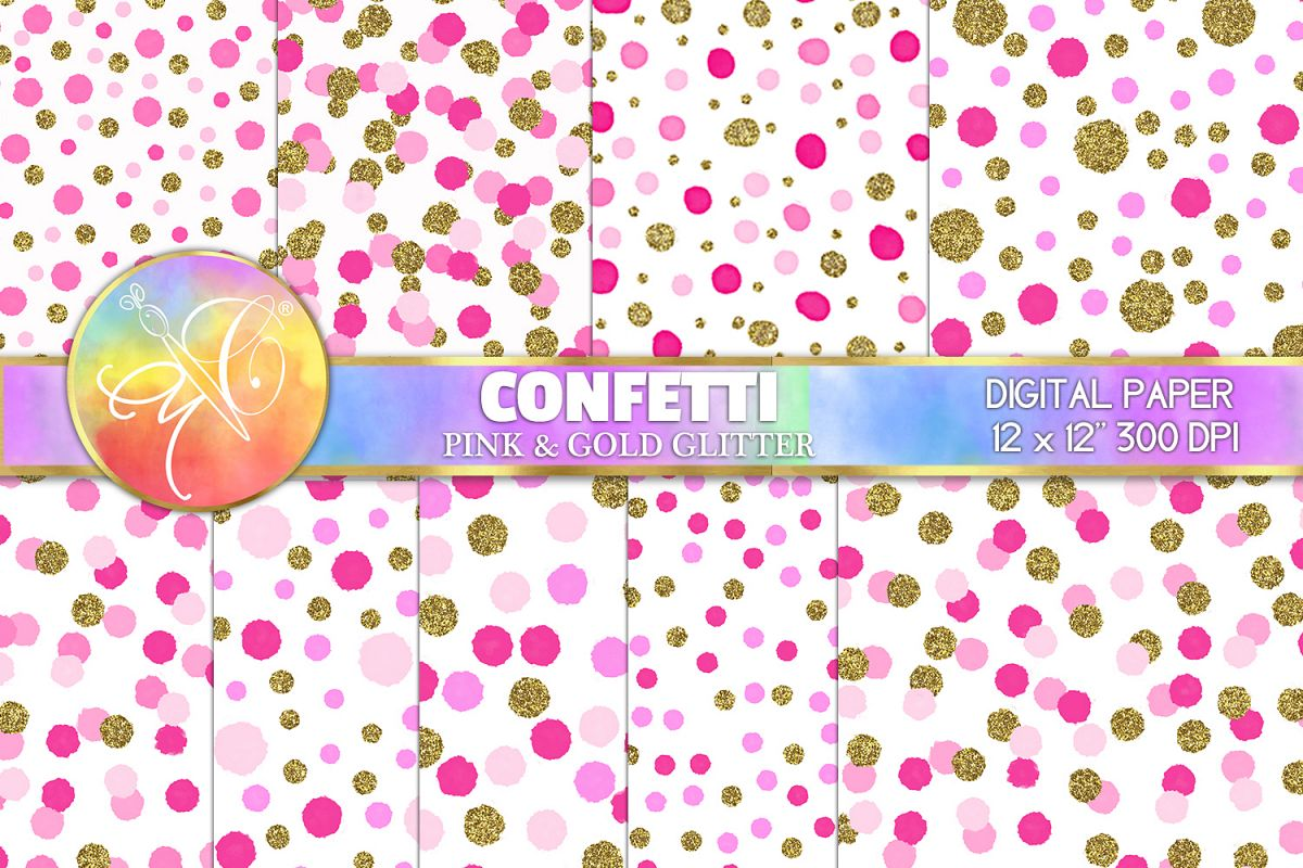 Confetti Digital Paper, Pink and Gold, Digital Background example image 1
