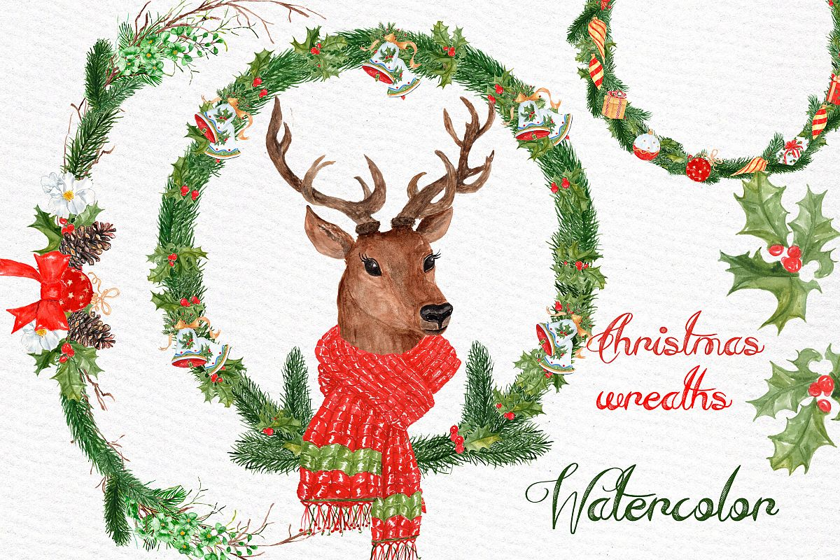 Watercolor Christmas Deer clipart example image 1