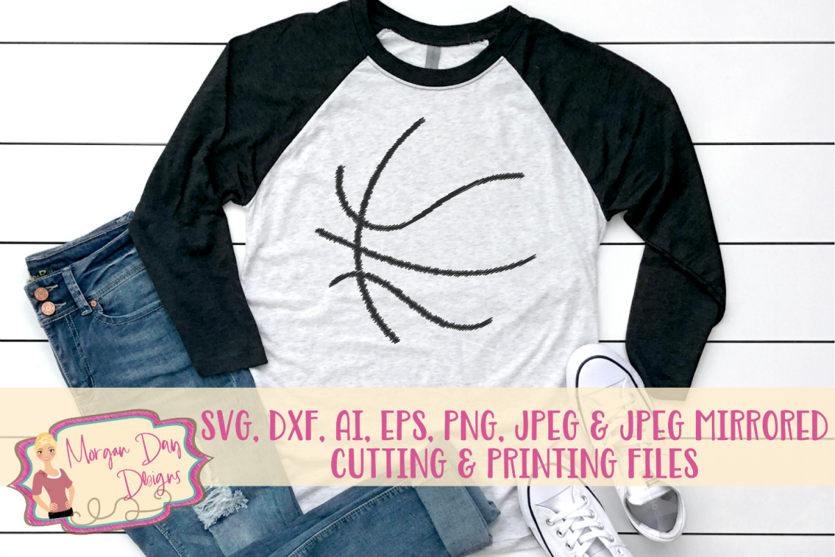 Grunge Basketball Outline SVG, DXF, AI, EPS, PNG, JPEG example image 1