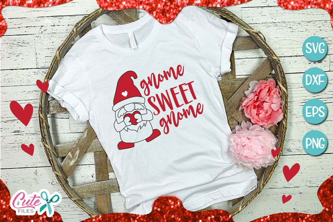 Gnome sweet gnome svg Valentines day files example image 1