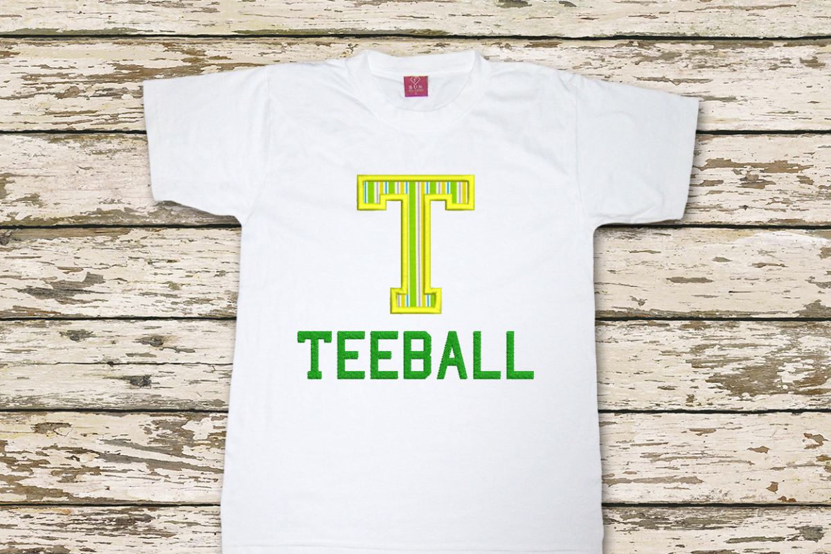 T for Teeball Applique Embroidery Design example image 1