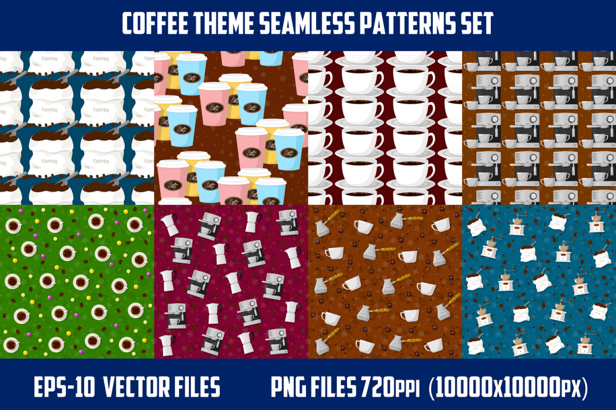 Coffee theme seamless patterns. example image 1