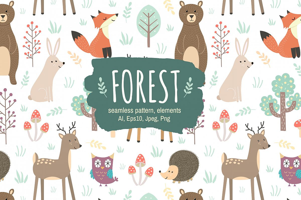 Forest: seamless pattern & elements example image 1