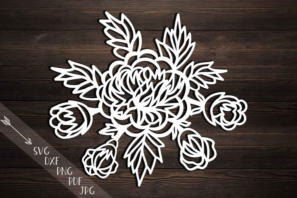 Peonies Bouquet Svg Dxf Paper Cutting Template Craft Files