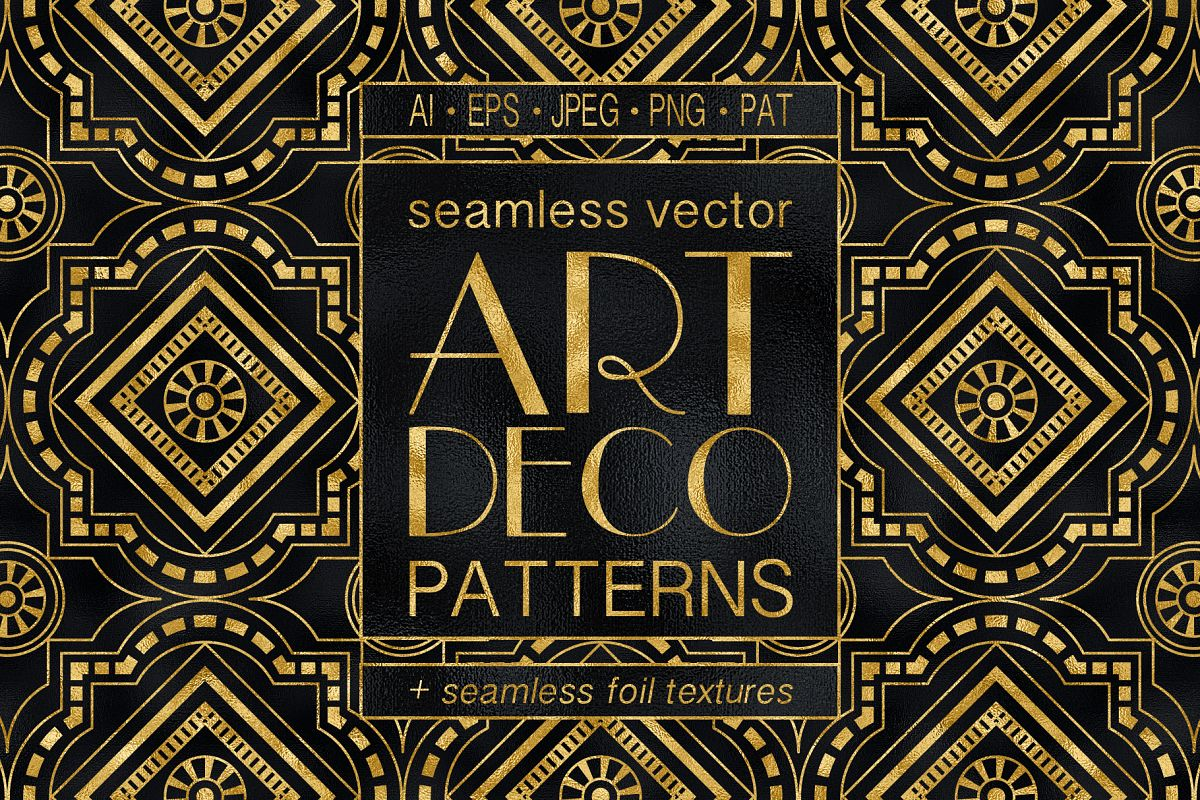 Geometric Art Deco Patterns - 20 Seamless Vector Patterns example image 1