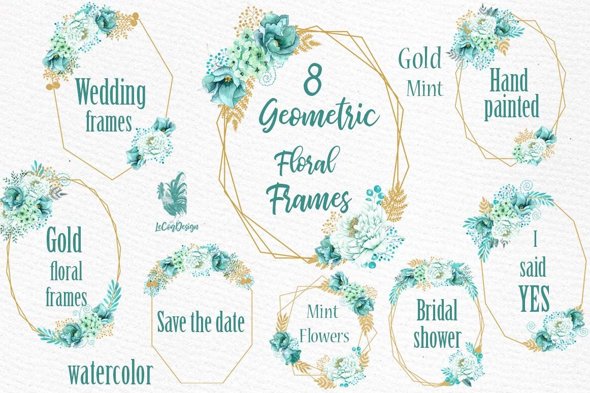 Geometric Frames clipart, GOLD MINT FRAMES, Mint Watercolor example image 1