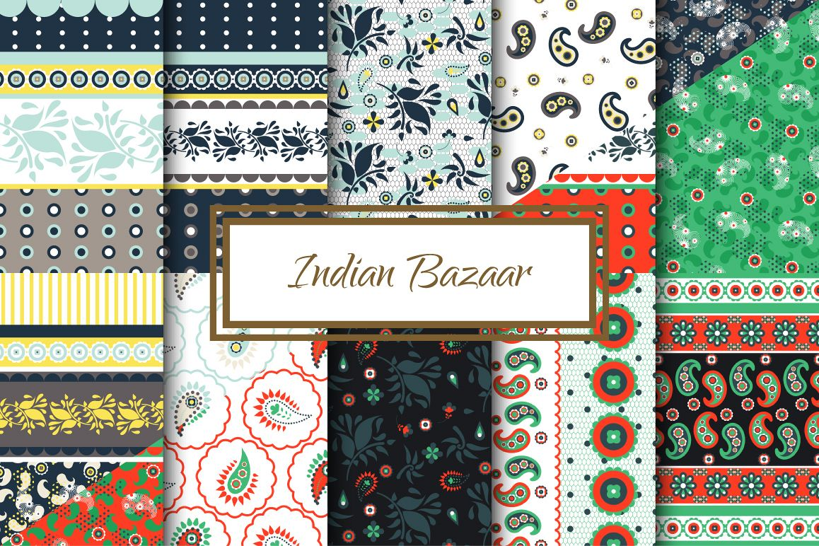 Indian Bazaar Seamless Patterns example image 1