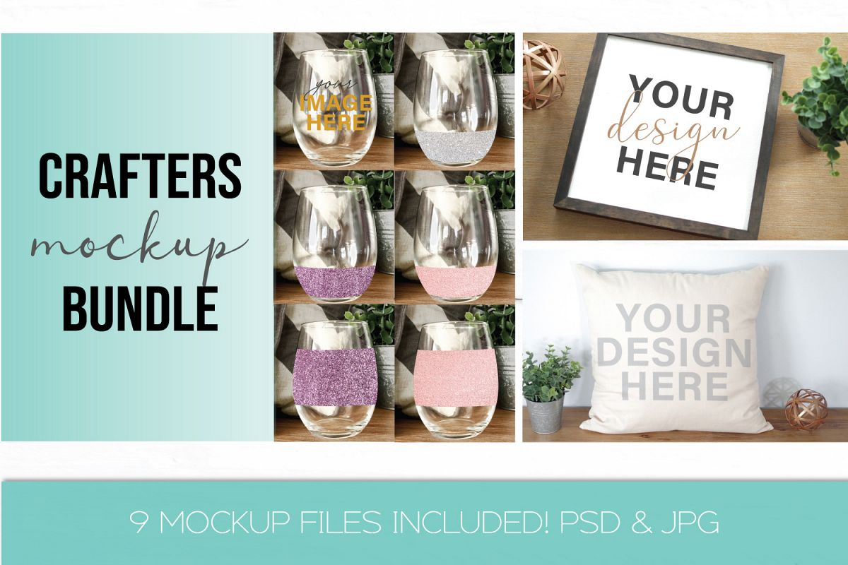Mockup Bundle - Wineglass - Wood Sign - Pillow PSD JPG example image 1
