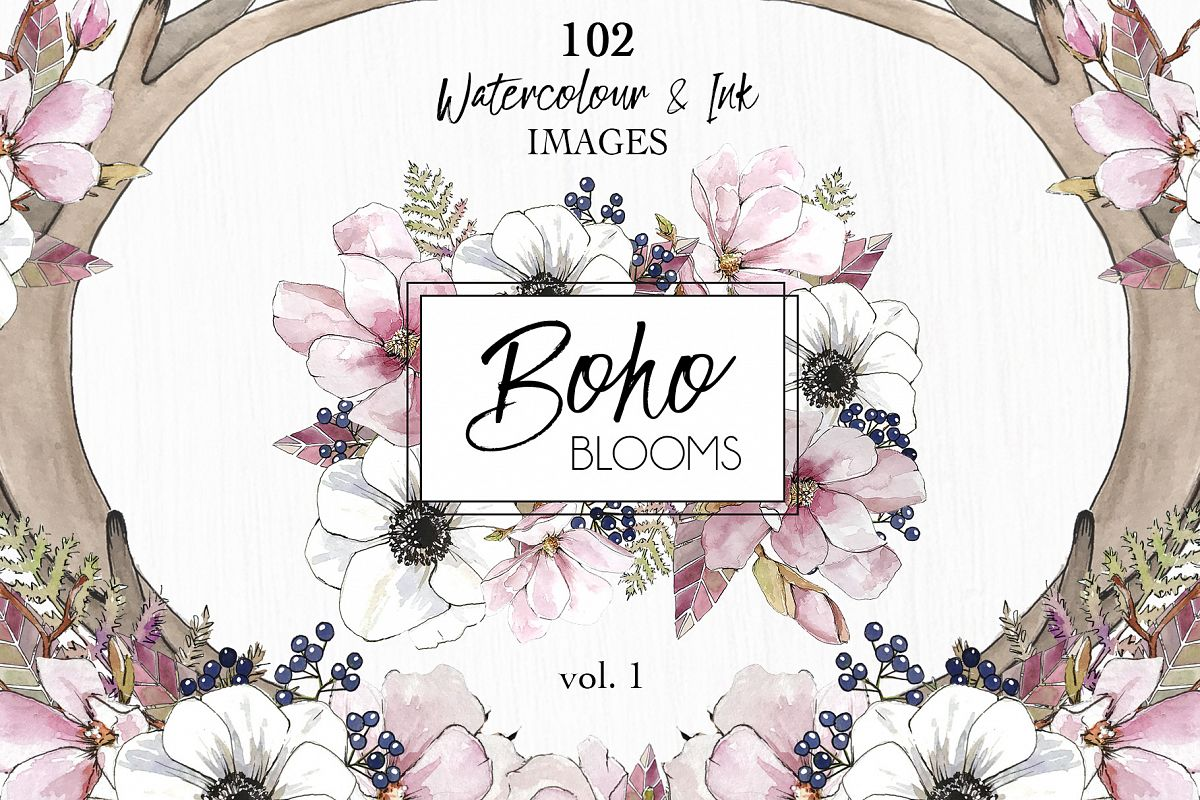 Watercolor & Ink ClipArt Boho Blooms example image 1