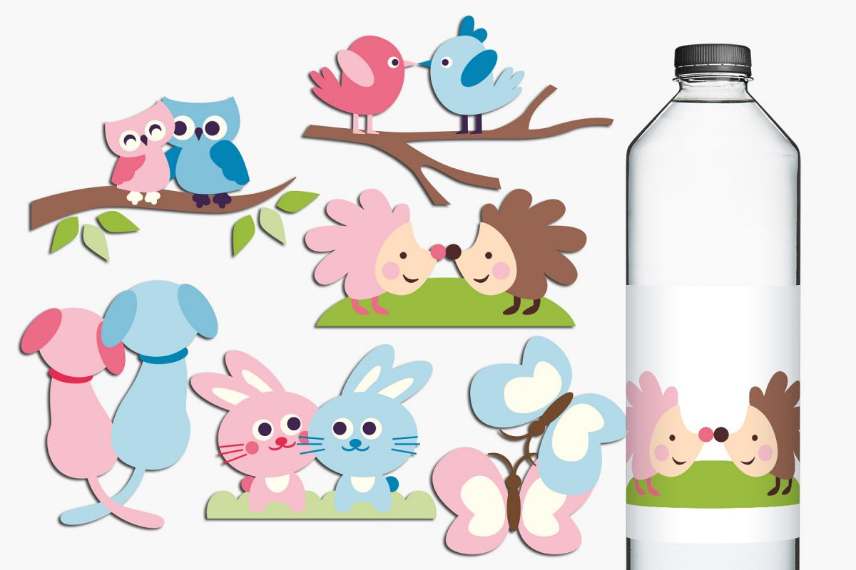 Animals in pairs illustrations - pink blue example image 1