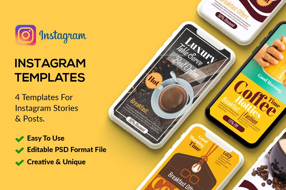 4 PSD Instagram Coffee Stories example image 1