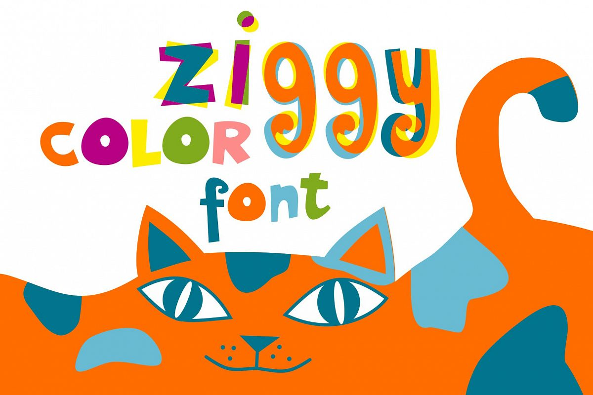 Ziggy color font example image 1