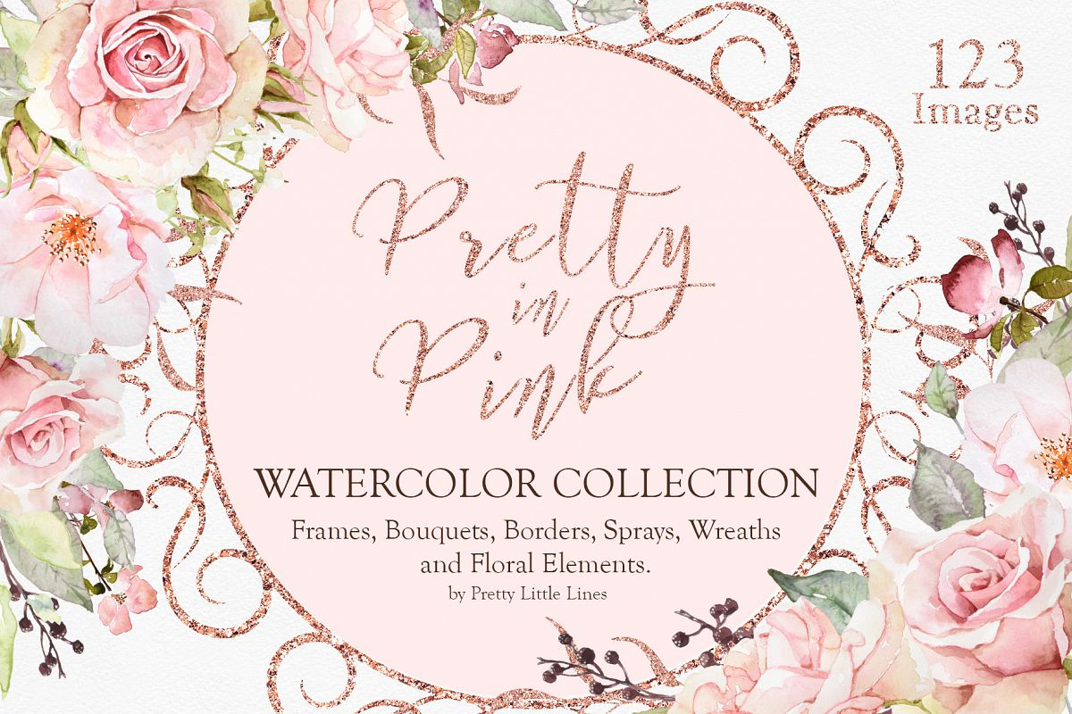 Pretty in Pink Watercolor Collection example image 1