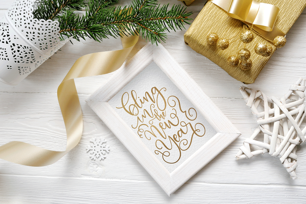 New Year SVG - Bling in the New Year Hand-Lettered Cut File example image 1