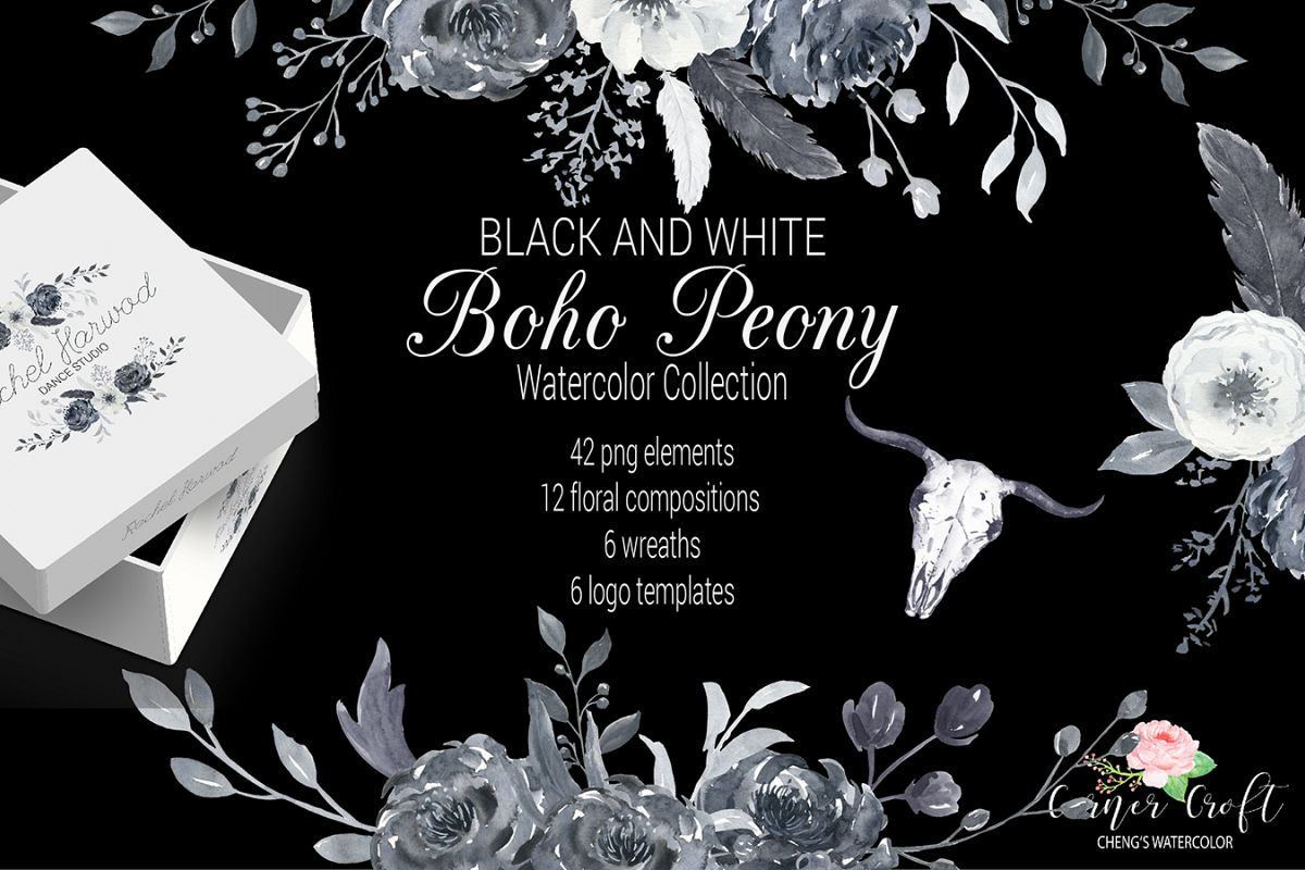 Watercolor Black and White Boho Peony example image 1