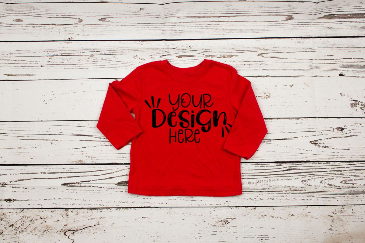 Red long sleeve toddler t-shirt mockup example image 1