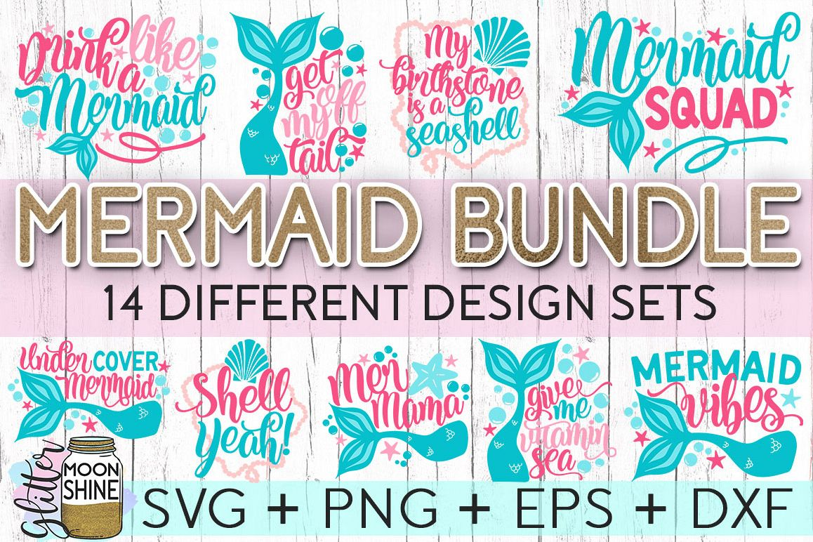 Big Mermaid Bundle of 14 SVG DXF PNG EPS Cutting Files example image 1