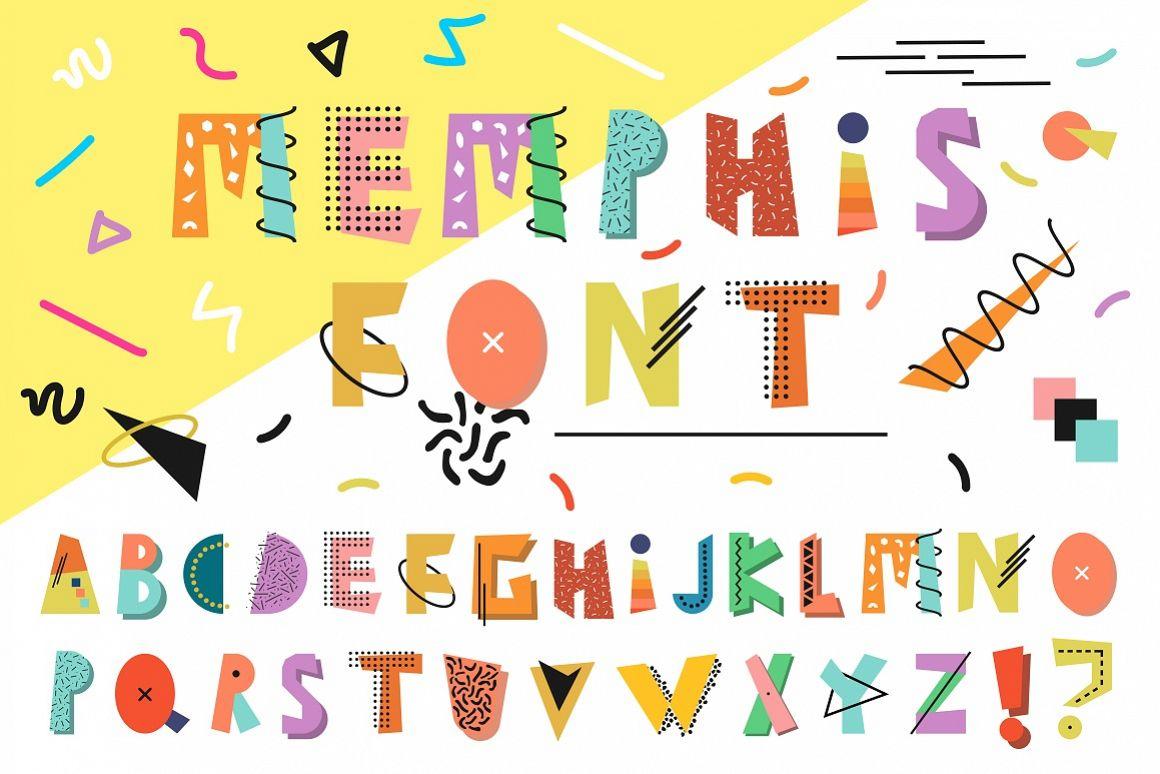 Memphis english color alphabet. example image 1