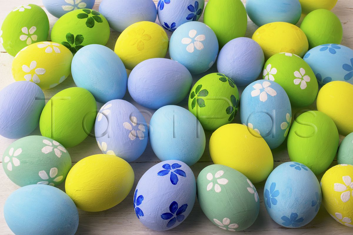 Pastel colored Easter eggs background  example image 1
