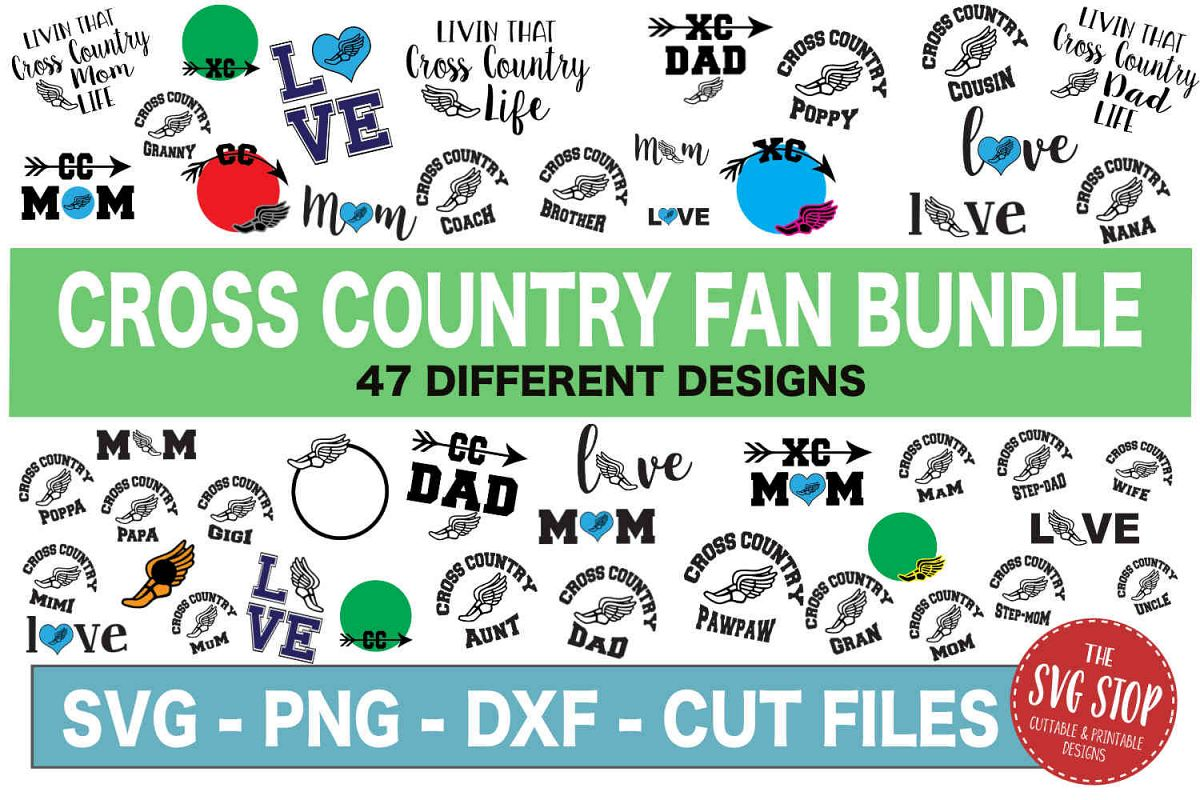 Cross Country SVG Bundle -SVG, PNG, DXF example image 1