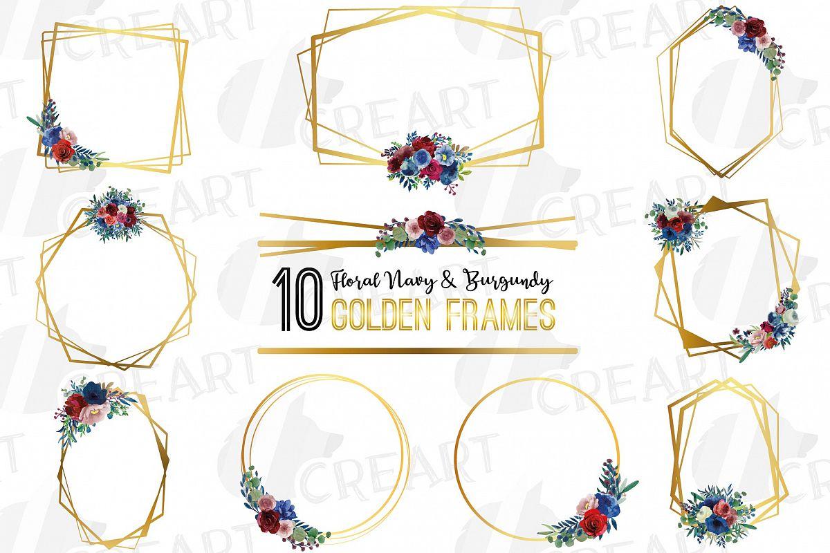 Watercolor elegant floral borders clip art. Wedding frames example image 1