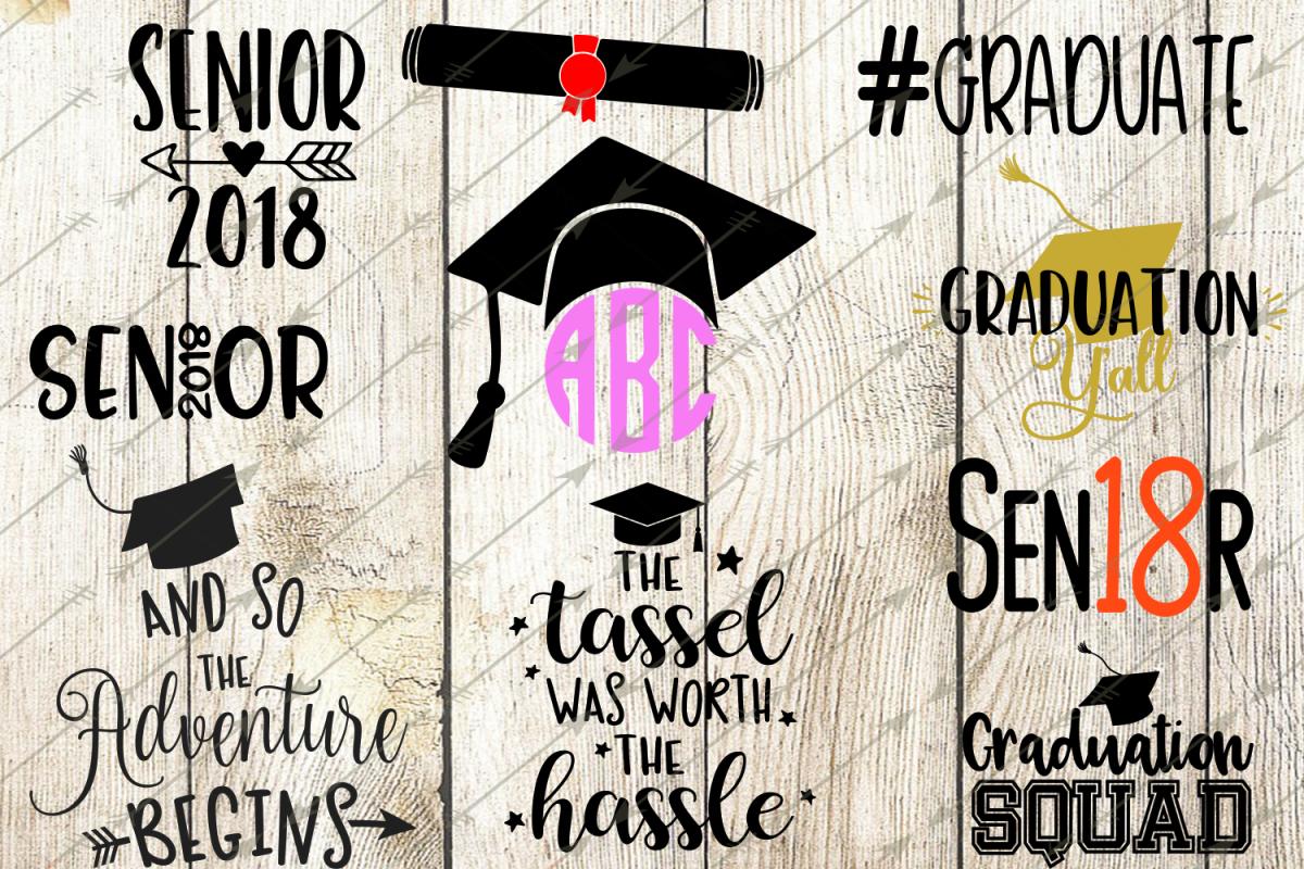 2018 graduation svg bundle, graduation clip art, graduation cap, circle monogram svg, graduation gift, senior 2018, class 2018, diploma svg, cricut example image 1