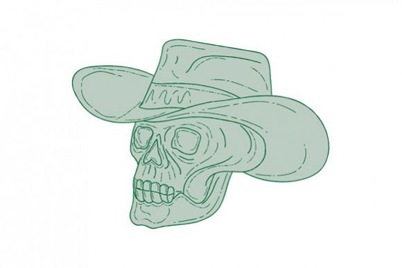 Cowboy Skull Drawing example image 1